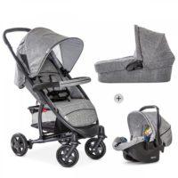 Hauck Malibu 4 Duovagn med Babyskydd (Grå Melange) - Duovagn