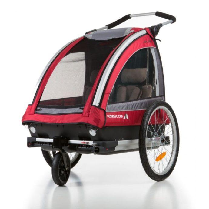 Nordic Cab Barn- och Cykelvagn Explorer 2 i 1 (Röd) - Cykelvagn