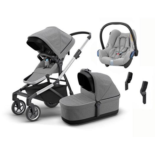 Thule Sleek duovagn + Maxi-Cosi Cabriofix babyskydd 0-13 kg & adapter - paket