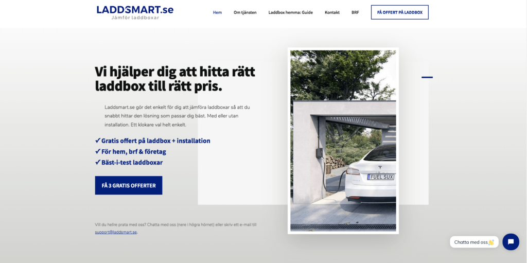 Laddsmart.se screenshot - tjänst för att installera laddbox hemma för svenska bilägare